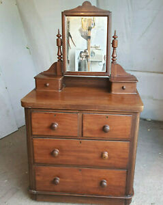 antique,small,edwardian,mahogany,2 over 2,chest of drawers,mirror,dressing table