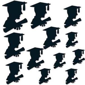 "Boy Graduate Silhouette Cutout Assortment Paper 12 Pack 6"" to 12"" Wall Decor"
