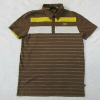 Men's MINI Cooper Polo Short Sleeve Shirt Brown & Yellow Striped Men's Large