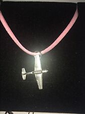 Yakovlev Yak-52 C47 Trainer Aircraft Pewter Pendant on a PINK CORD Necklace