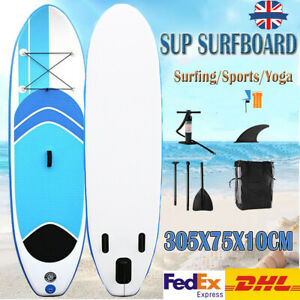 UK 10ft SUP Inflatable Surfboard Stand up Adult Long Paddle Board W/Accessories