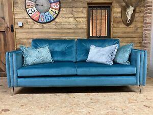 New large 3-4 str sofa teal blue velvet silver SCS modern contemporary retro