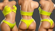 Exotic Sexy Dance Wear 2pc Lycra Neon Yellow Tube Top Open Front Bikini Short