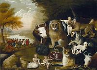 Wonderful Oil painting The Peaceable Kingdom Edward Hicks children & wild animal