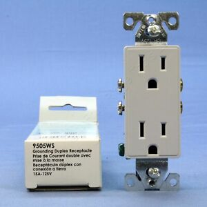 Cooper Aspire White Satin (Pale Gray) Decorator Receptacle Outlet 5-15R 9505WS