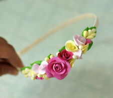 Rose wedding Hair Headpiece HANDCRAFTED Fashion polymer clay Headband jewelry