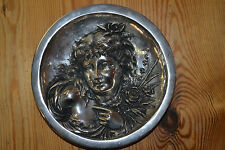 Antique early 20th century Art Nouveau cast metal wall plaque marked 'B&H 1911'