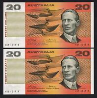 R-405. (1974) 20 Dollars - Phillips/Wheeler.. AUSTRALIA..   aU-UNC CONSEC Pair
