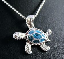 Silver Blue/Green Sparkle Sea Turtle Pendant Necklace wFree Jewelry Box and Ship