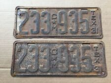 1931 Texas License Plates Plate Commercial Pickup Truck Original 31 Hot Rod