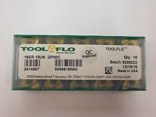 10pc) ToolFlo 16ER 18UN GP50C Laydown Coated Carbide 18 TPI Threading Inserts