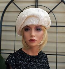 Vintage 50's White & Ivory Straw Art Deco Hat by Herbert Bernard Size 23 Large