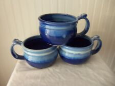 Blue Drip Glaze Pottery Soup Mug Cups with thumb rest,signed Lahtti,good Cond,