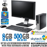 "Fast Dell Quad Core i5 PC 8GB Win 7 20"" HD LCD Monitor Full Set Bundle Computer"