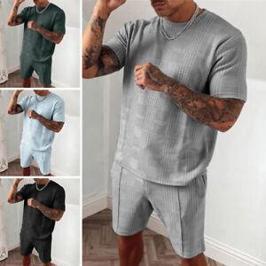 Men Short Sleeve Set T-Shirt Tops+Shorts Sport Joggers Casual Tracksuit Pants