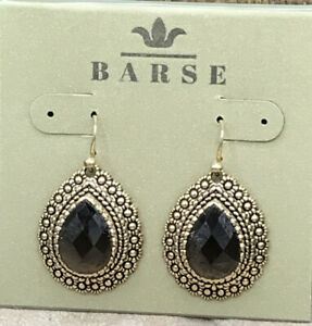 Barse Entranced Smoky Quartz Earrings-Bronze- New with Tags