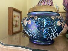 Fenton Faverene Cobalt Blue Rose Bowl Hand Painted 324/500 Limited
