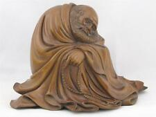 BEAUTIFUL VINTAGE CHINESE HAND CARVED WOOD STATUE OF BUDDHIST MONK BODHIDHARMA