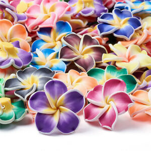 100x Handmade Polymer Clay 3D Flower Plumeria Beads Mixed Color 30x11mm Hole 2mm
