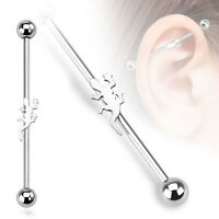 316L Surgical Steel Lizard Ear Cartilage Industrial Barbell Piercing 14 GA