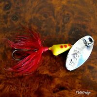 Yellow & Red Spots Vibric Rooster Tail - Choice of Hook/ Size/ Weight & Quantity