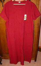 """VINTAGE & NWT 100% cotton LOOSE FIT WINE/RED SUNDRESS EMBROIDERED B 46"""""""