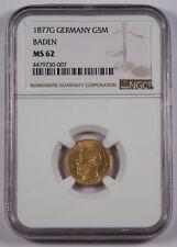 Germany Baden 1877 G 5 Mark Gold Coin NGC MS62 Choice UNC/BU Friedrich I KM#266