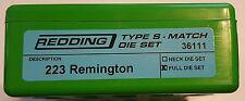 36111 REDDING TYPE-S MATCH BUSHING FULL DIE SET - 223 REMINGTON - BRAND NEW