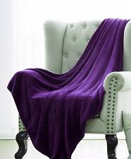 PURPLE SOLID VERSATILE SUPER SOFT WARM MICROPLUSH SMALL THROW BLANKET