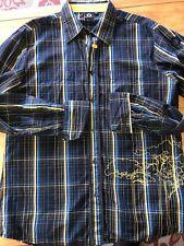 GSUS Sindustries long Sleeved Men's Plaid w/Embroidery Cotton LS Shirt size XL