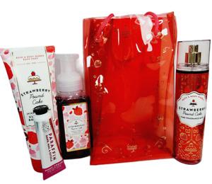 Bath & Body Works 5 Pc STRAWBERRY POUND CAKE Gift Set Body Cream Mist Soap Bag