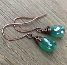 Min Favorit Mystic Green Chalcedony Briolette & Antique Copper Wrap Earrings
