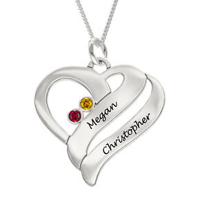 Personalised ANY NAME Heart Necklace Birthstone Pendant Gift 925 Sterling Silver