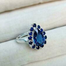 14K WHITE GOLD DAZZLING ENGAGEMENT & WEDDING CLASSIC HALO RING 2.41 CT SAPPHIRE