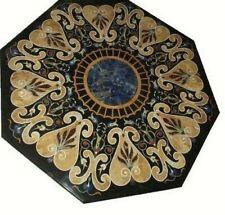 "36"" Black Marble Table Top Pietra dura Inlay Work Handicraft work"