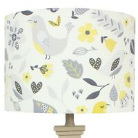 Fryetts Ochre Yellow Grey Dalarna Floral Bird Scandi Drum Lampshade Lightshade