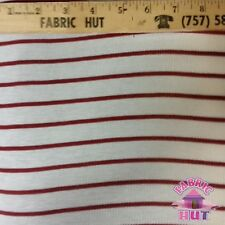 Jersey Knit Polyester Poly Spandex Cream & Burgundy Stripe Fabric by the Yard