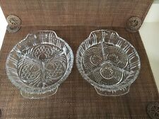 New Crystal Cut Glass Round Divided Serving Dishes