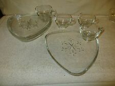 "4 Vtg Indiana Glass ""Snowflake"" Clear Snack Sets - Atomic Triangle - Mid-Century"