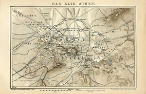 1901 Ancient Greece ATHENS CITY and SUBURBS Antique Map dated