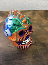 Day of the dead, Hand painted Ceramic skull, Catrina, Pottery, Small,Mexico,#101