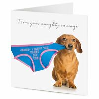 PERSONALISED from your naughty sausage Dachshund dog valentine birthday card