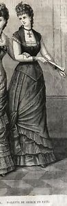 MODE ILLUSTREE SEWING PATTERN  Feb 4,1877- EVENING DRESS, FAYE DRESSES