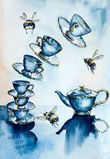 Zero Gravity watercolor original still life painting kitchen bee cups art