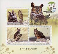 Madagascar 2017 MNH Owls 3v M/S Hiboux Owl Bird Birds Stamps