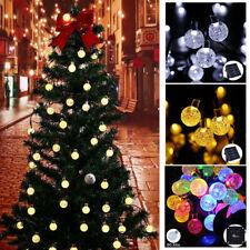 30/50LED Solar Garden String Fairy Lights Wedding Party Festoon Ball Bulbs Lamp
