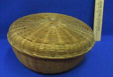Vintage Antique Woven Basket With Lid Sewing Storage Display Basket