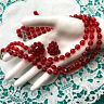 Beautiful 3 Three Strand Glass NECKLACE & EARRING Set RED Beads AB Crystals EVC