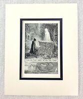 1909 Antique Print Ghost Graveyard Tomb Grave Cemetery Fantasy Art Frank C Pape