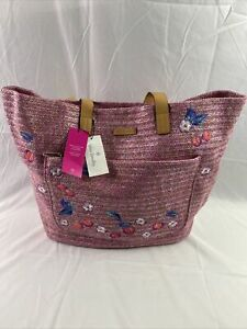 Vera Bradley Front Pocket Straw XL Tote Pink Cherry Woven Embroider NWT